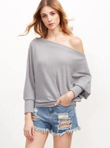 Grey Asymmetric Cold Shoulder Dolman Sleeve T-shirt