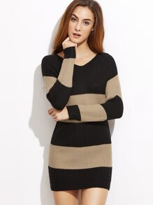 Contrast Striped Bodycon Sweater Dress