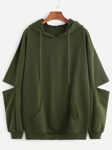 Army Green Drop Shoulder Elbow Cutout Hooded Pocket Sweatshirt