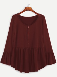 Burgundy Ruffle Hem T-shirt With Button Front