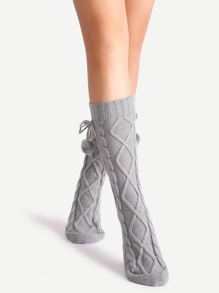 Grey Cable Textured Pom Pom Socks
