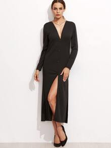 Black Deep V Neck Slit Side Shirt Dress