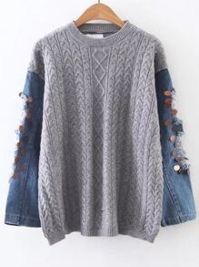 Grey Cable Knit Sequin Ripped Denim Sleeve Sweater