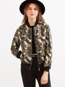Olive Green Camo Bomber Jacket With Arm Pocket