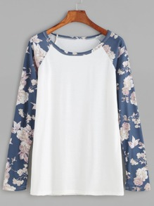 Contrast Florals Raglan Sleeve T-shirt