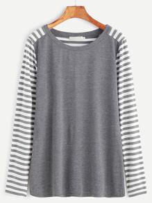 Grey Contrast Stripe Eblow Patch T-shirt