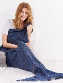 Navy Fish Tail Design Knit Mermaid Blanket