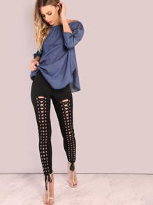 All Lace Up Skinny Pants BLACK