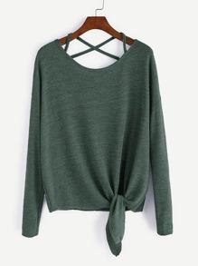 Dark Green Drop Shoulder Criss Cross Tie Front T-Shirt
