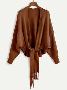 Khaki Batwing Sleeve Fringe Trim Sweater Coat