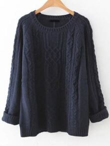 Navy Cable Knit Raglan Sleeve Sweater