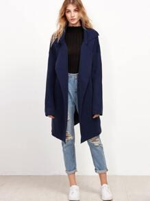 Navy Notch Collar Drop Shoulder Sweater Coat