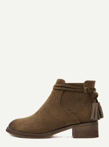Brown Faux Suede Distressed Tassel Cork Heel Ankle Boots