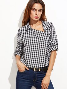 Black Gingham Asymmetric Buttoned Collar Blouse