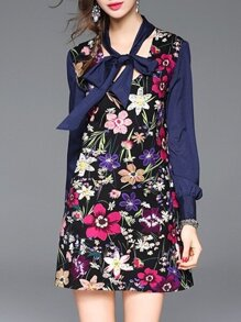 Blue Tie Neck Floral Shift Dress