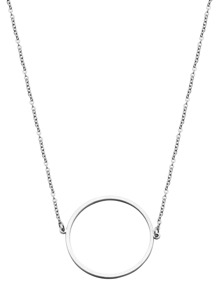 Silver Plated Circle Hollow Out Pendant Necklace