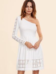 White Laser Cutout One Shoulder Pleated Dress