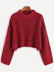 Red Marled Knit Drop Shoulder Slit Crop Sweater