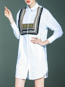 White Lapel Embroidered T-shirt Dress