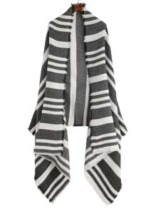 Black And White Stripe Raw Edge Shawl Scarf