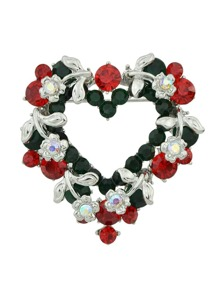 Silver Colorful Rhinestone Heart Shape Brooch