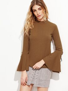 Vertical Striped Split Bell Sleeve Lace Up T-shirt