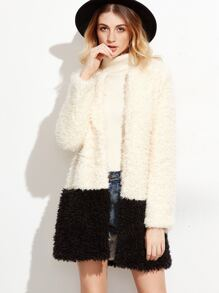 Contrast Collarless Open Front Fluffy Coat