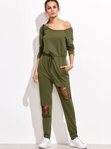 Olive Green Asymmetric Off The Shoulder Ripped Sweat Jumpsuit