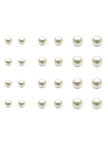 White Faux Pearl Stud Earrings Set