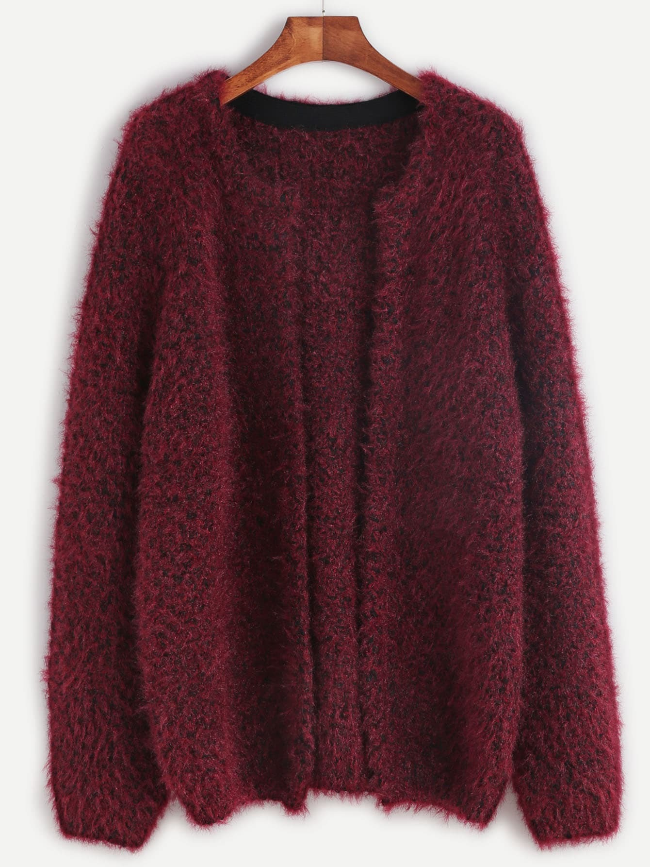 Burgundy Open Front Fluffy Sweater Coat EmmaCloth-Women Fast ...