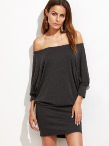 Heather Grey Off The Shoulder Blouson Dress