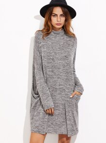 Grey Marled Knit Pocket Front Pleated Dress