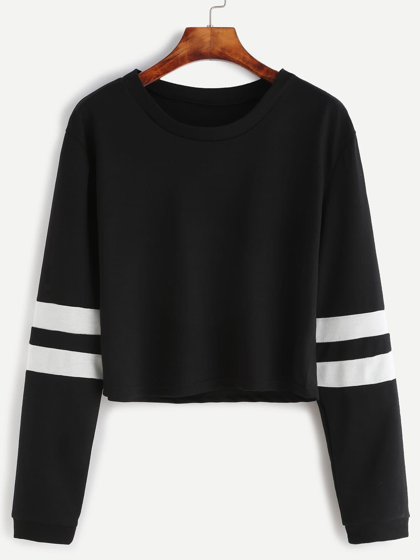 Black varsity striped sleeve crop t shirt emmacloth women for Black sweater white shirt