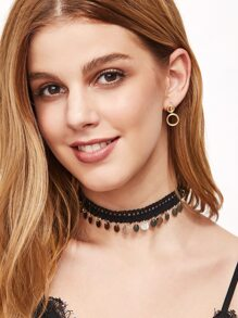 Black Lace Coin Fringe Choker Necklace