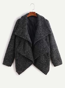 Dark Grey Double Collar Asymmetric Sherpa Coat