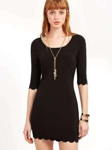 Black Scoop Neck Scallop Edge Dress