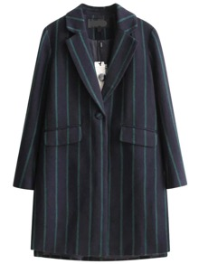 Navy Contrast Striped Single Button Wool Blend Coat