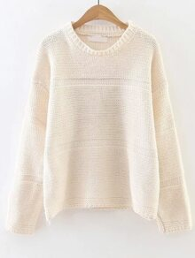 White Round Neck Drop Shoulder Loose Sweater