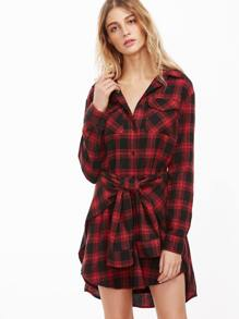 Black And Red Plaid Tie Front Shirt Dress