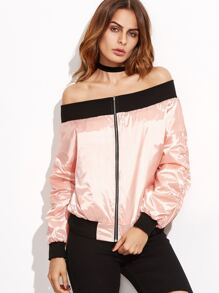 Pink Contrast Trim Off The Shoulder Bomber Jacket