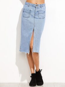 Blue Slit Front Raw Hem Denim Skirt
