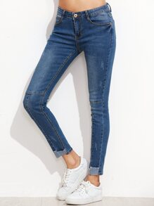 Blue Contrast Trim Skinny Jeans
