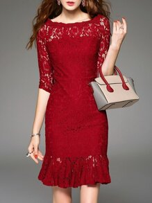 Red Crew Neck Lace Frill Dress