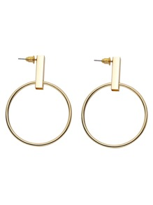 Gold Plated Hollow Circle Drop Earrings