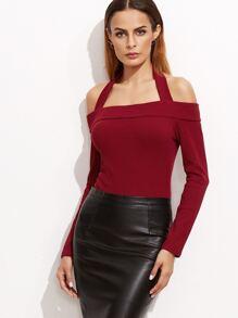 Burgundy Halter Long Sleeve Bodysuit