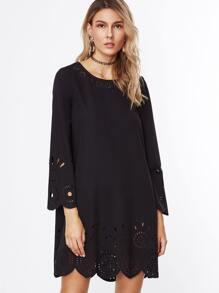 Black Laser Cutout Scallop Trim Tunic Dress