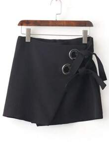 Black Eyelet Tie Wrap Skirt
