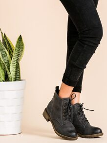 Dark Grey Distressed PU Lace Up Cork Heel Short Boots