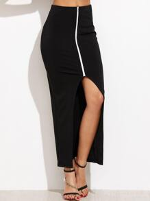 Black Contrast Zip Front Slit Skirt