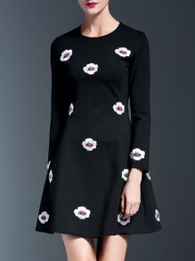 Black Applique Pouf A-Line Dress